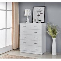 High Gloss 2PAC Finish 6 Drawer Tallboy with Chorme Handles White
