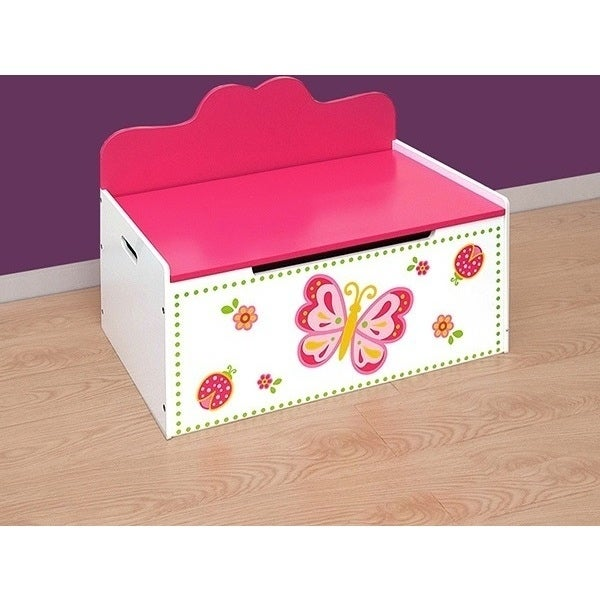 Kids Wooden Toy Box Bench In Pink White Butterfly Buy Kids Toy