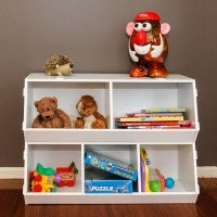 Kids Stackable Wooden Toy Storage Box Shelves 2pc