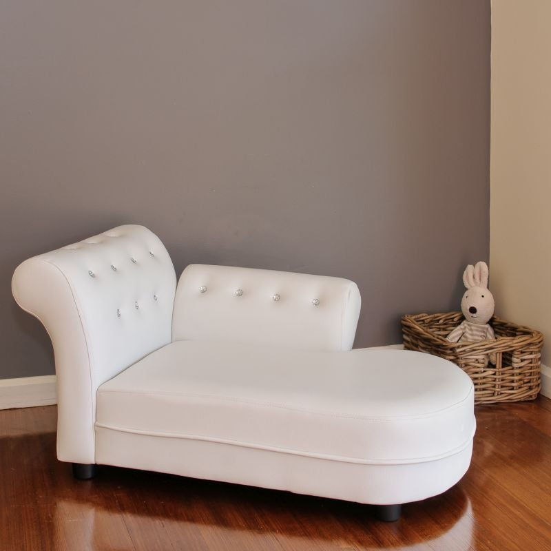Small Kid S Pu Leather Stud Chaise Lounge In White Buy