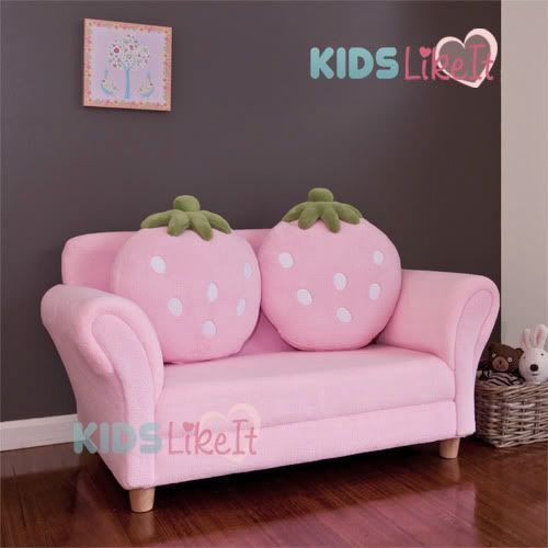 Astounding Girls Pink 2 Seat Wooden Strawberry Sofa Couch Kids Arm Chair W Cushion Pink Bralicious Painted Fabric Chair Ideas Braliciousco