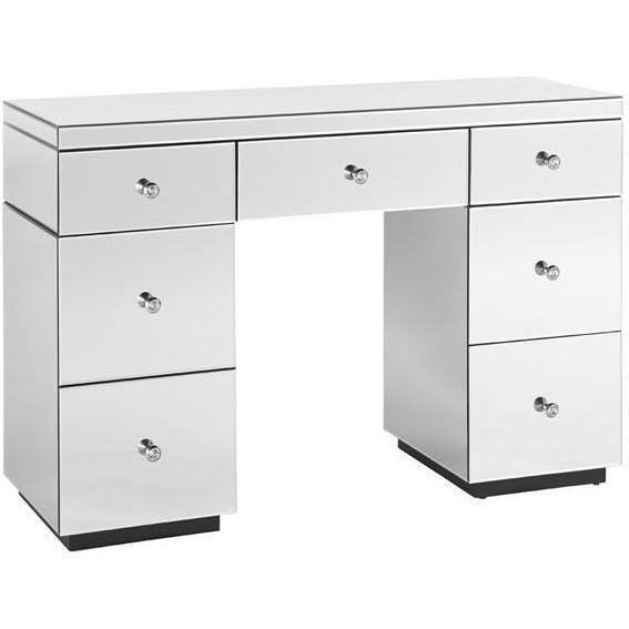 Mirrored 7 Drawer Vanity Dressing Table In White