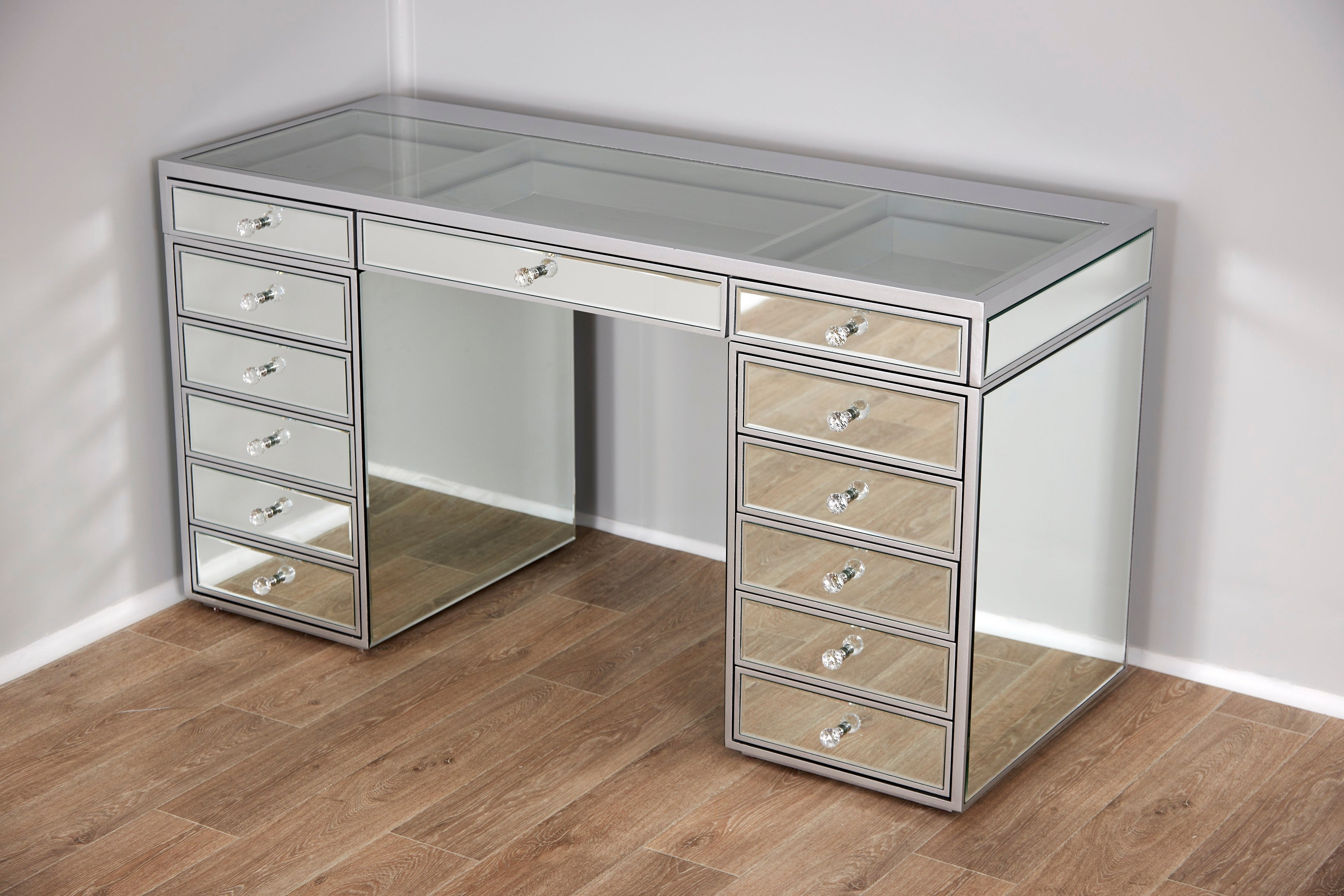Mirrored See Through Vanity Table with 13 Drawers / Clear ...