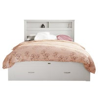 Porcia Queen Bed with Storage Shelves & Drawers - White