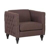 Aaren Single Seater Chesterfield Style Sofa - Chocolate