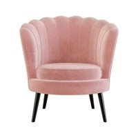 Chantal Scallop Velvet Accent Chair - Rose Pink