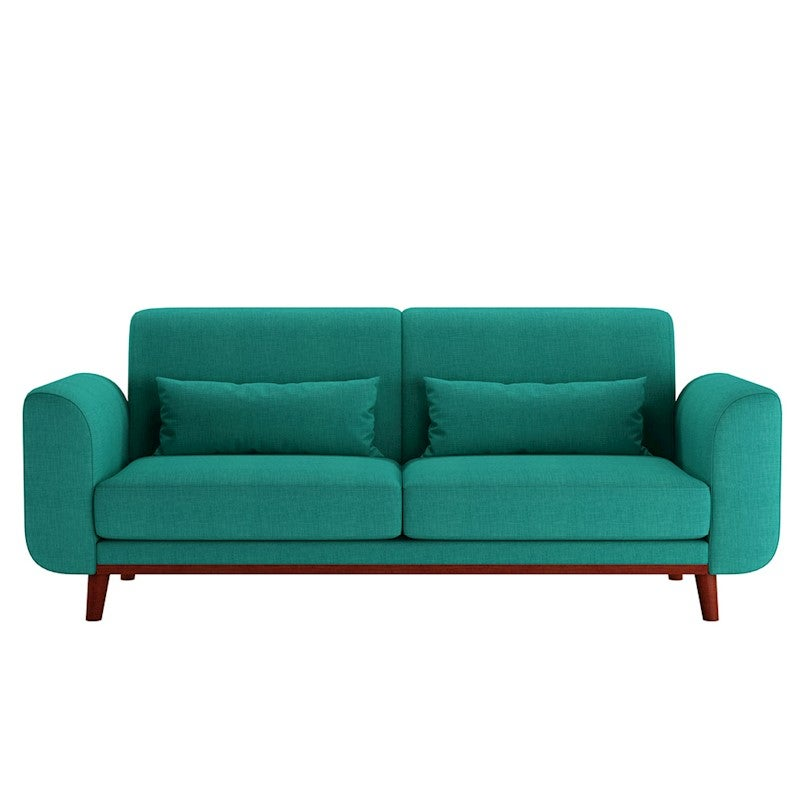 Ashton Sofa Dressed With Our Madison Ottoman And A: Abbey 3 Seater Scandinavian Style Sofa Bed - Teal