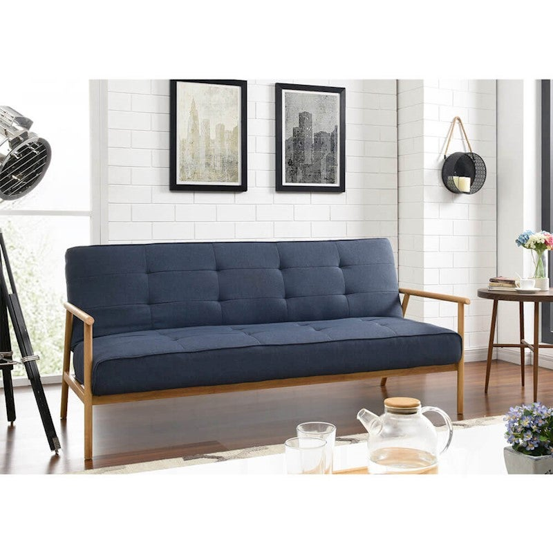 Ebba 3 Seater Scandinavian Style Sofa Bed - Denim Blue