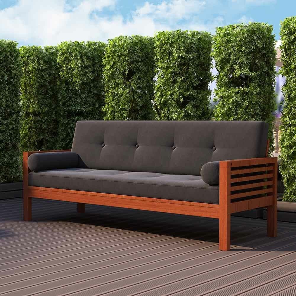 Luxo Meves Timber Outdoor Sofa Bed with Black Cushion ... on Luxo Living Outdoor id=65476