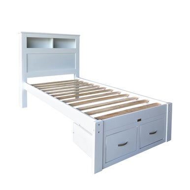 Porcia Single Bed With Storage Shelves Amp Drawers White