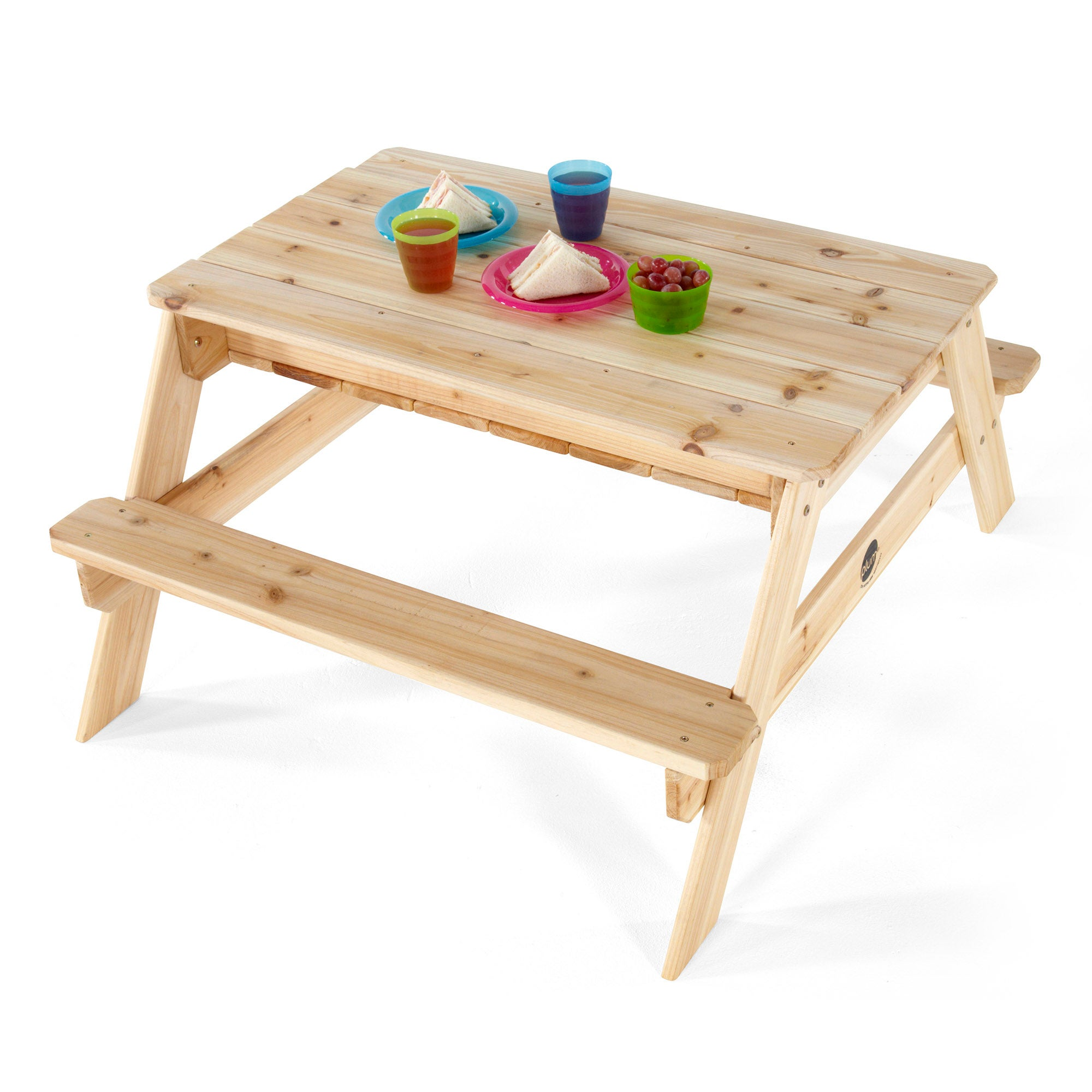 Wondrous Plum Kids Wooden Sandpit Picnic Table W 2 Benches Pabps2019 Chair Design Images Pabps2019Com