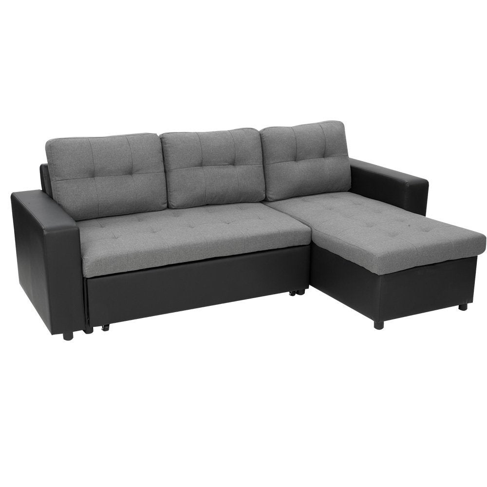 3 Seater Corner Sofa Bed With Storage Lounge Chaise Linen
