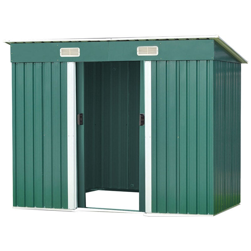 4ft x 8ft Garden Shed with Base Flat Roof Outdoor Storage ...