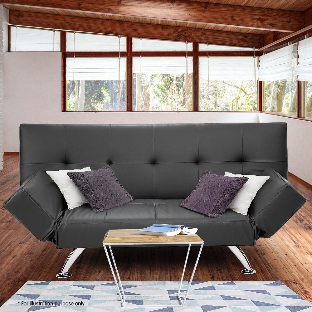 Brooklyn Sofa Bed Lounge Faux Leather Couch Futon
