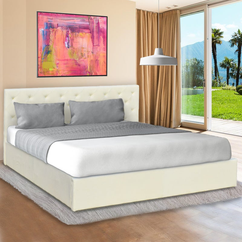 Gas Lift Double Size Linen Fabric Bed Frame Headboard Base