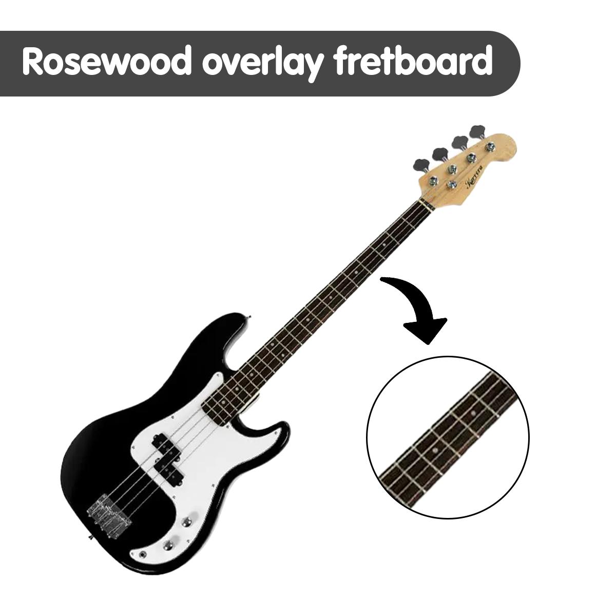 karrera electric bass guitar electronic tuner stand strap bag amp lead black buy guitars. Black Bedroom Furniture Sets. Home Design Ideas