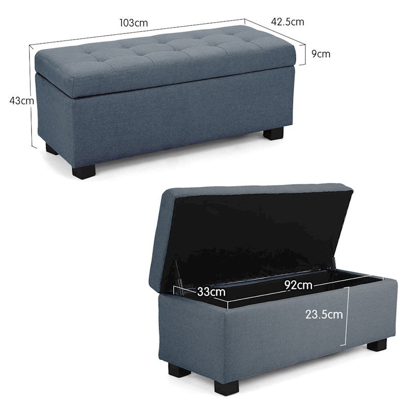 Ottomans Lucia Storage Chest Grey Fabric: New Storage Ottoman Faux Leather Linen Fabric Chest Foot