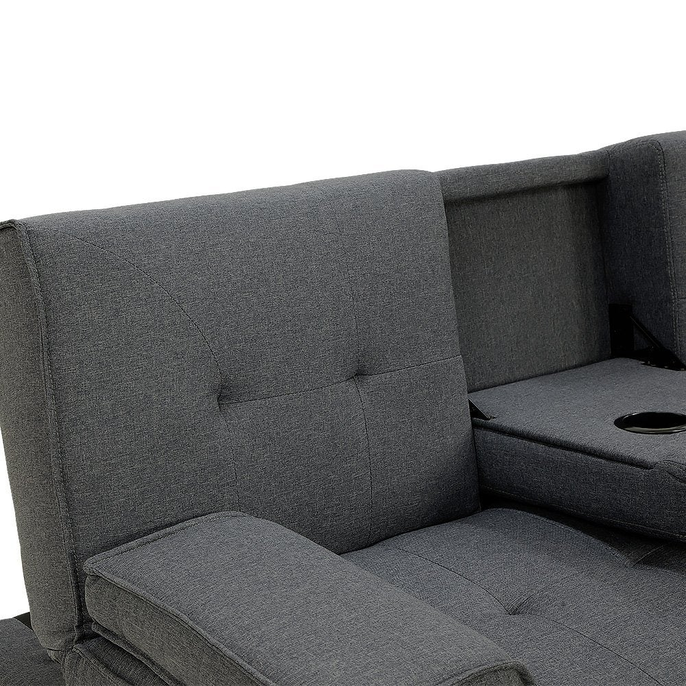 Rochester Linen Fabric Sofa Bed Lounge Couch Futon