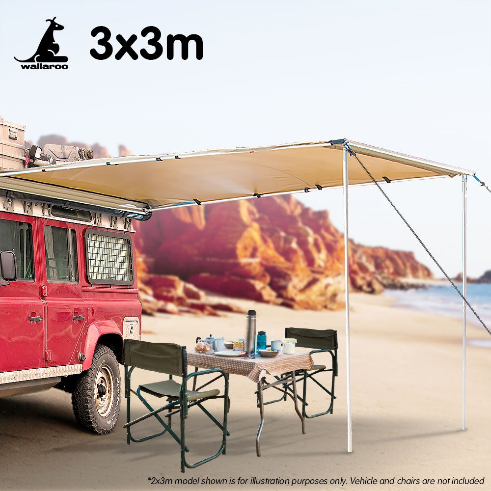 3m X 3m Awning Roof Top Tent Camper Trailer 4wd 4x4 ...