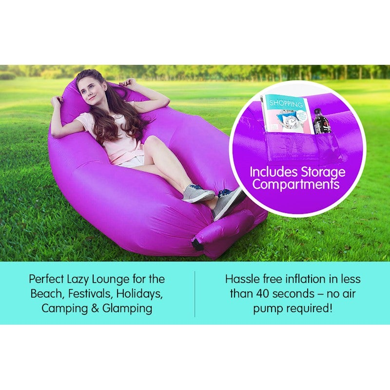 Super Wallaroo Lazy Air Lounge Chair Inflatable Sleeping Camping Bed Beach Sofa Bag Onthecornerstone Fun Painted Chair Ideas Images Onthecornerstoneorg