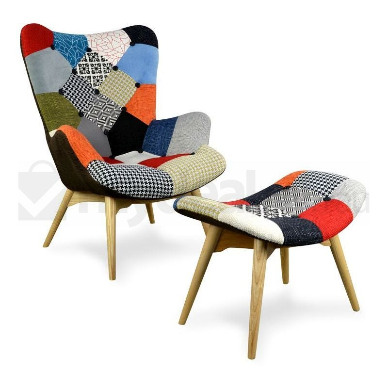 Outstanding Replica Grant Featherston Chair Ottoman Patchwork Machost Co Dining Chair Design Ideas Machostcouk