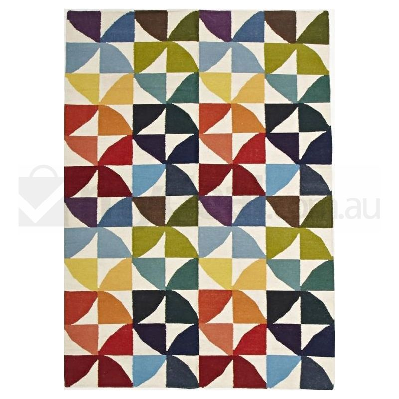 280 X 190cm Flat Weave Time Multi Colour Wool Rug Buy