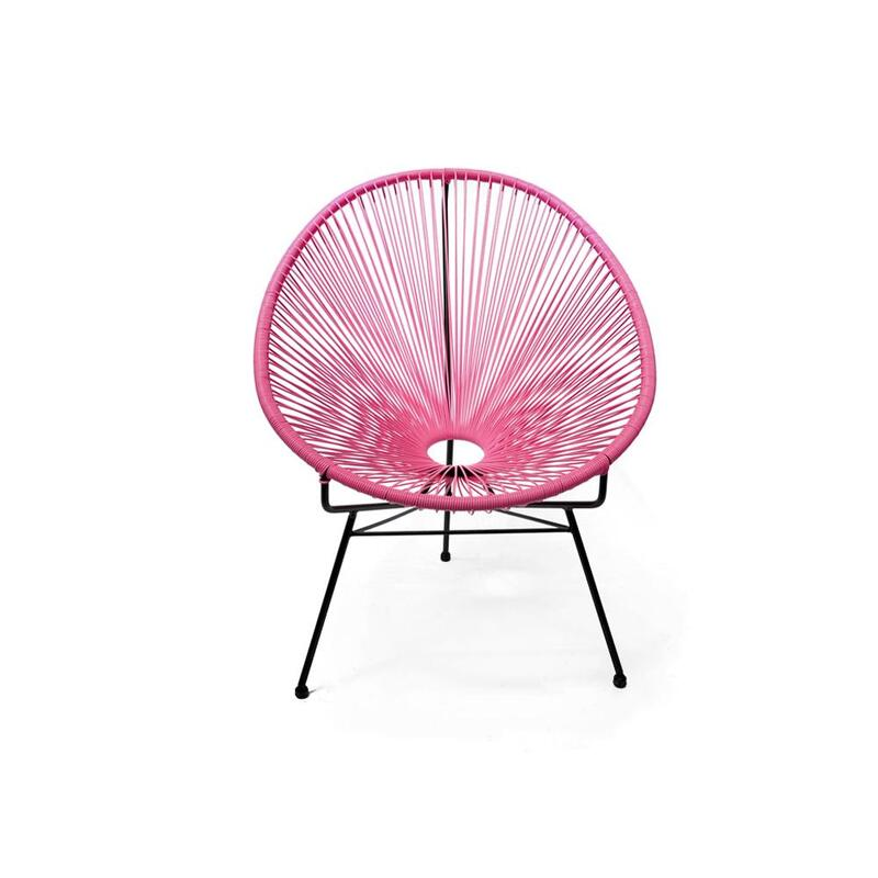 Acapulco Outdoor Lounge Chair Replica Wicker Pink