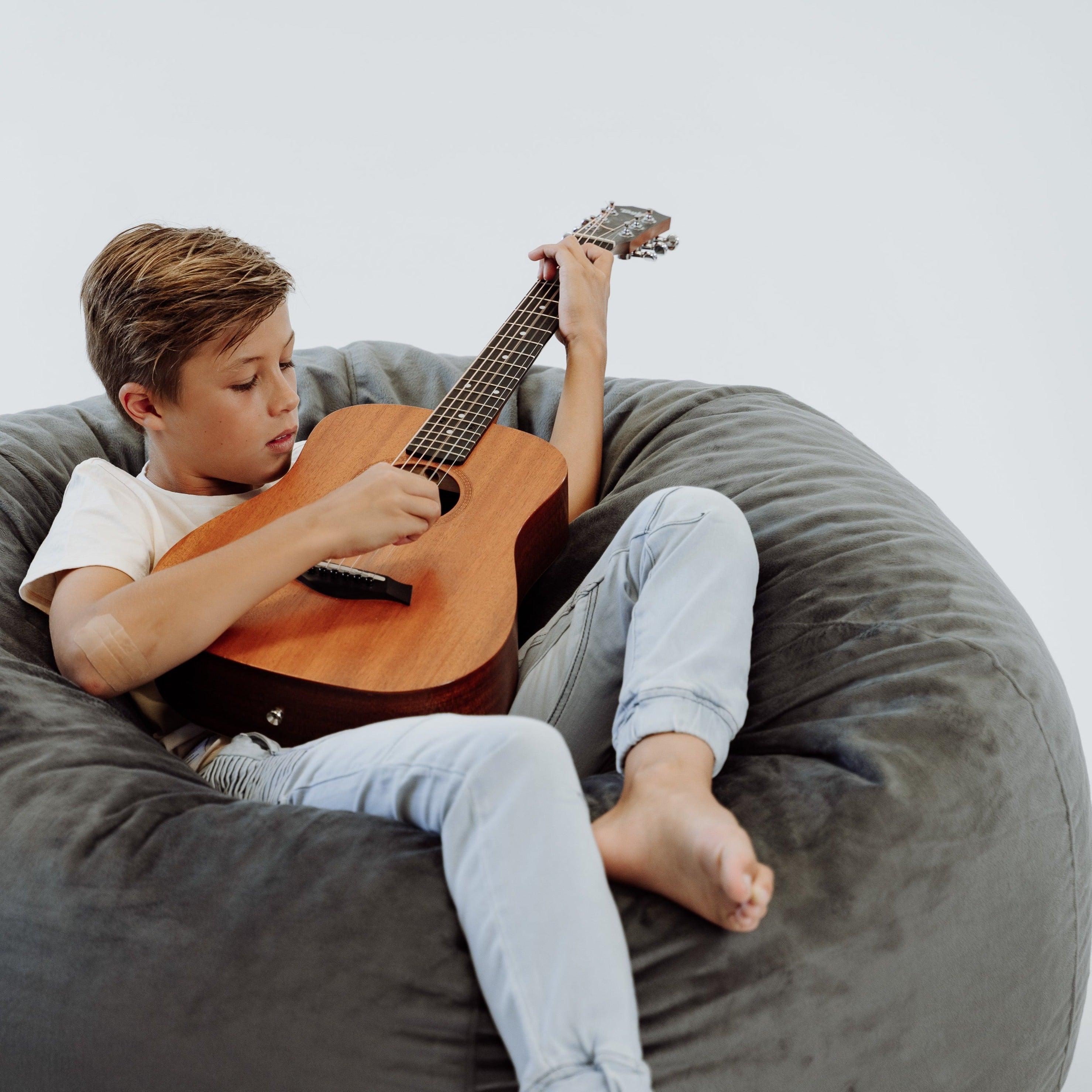 Brilliant Pierre Fur Bean Bag Charcoal 2 Sizes Available Machost Co Dining Chair Design Ideas Machostcouk