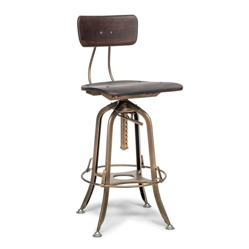 Superb Industrial Swivel Adjustable Height Bar Stool Chair With Back French Brass Machost Co Dining Chair Design Ideas Machostcouk