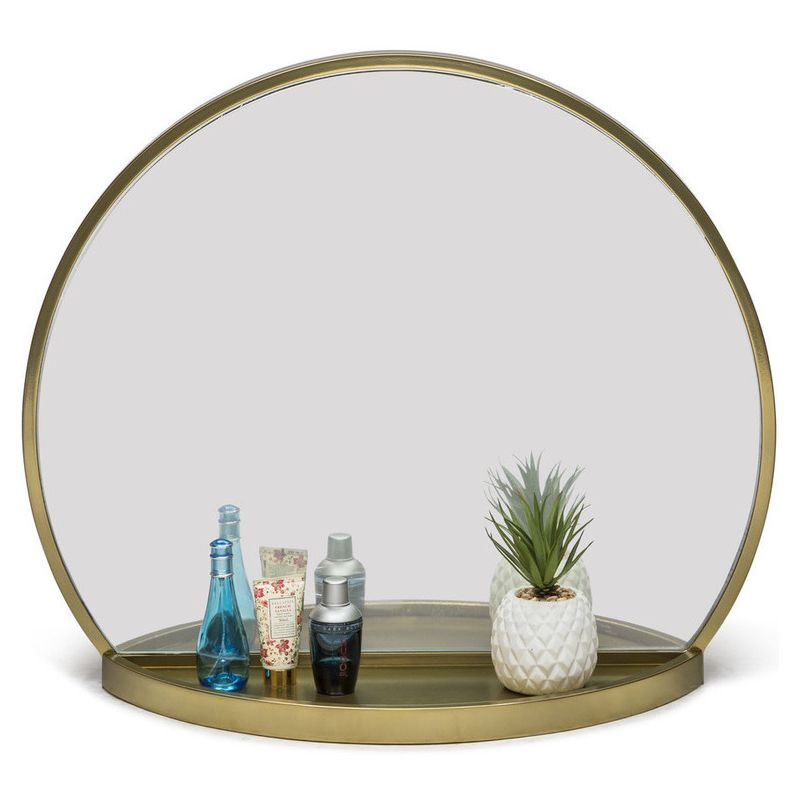 Antique Round Table Wall Mirror With Shelf In Brass Buy Wall Mirrors 218817