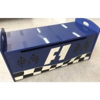 Wooden Kids Toybox - Racing - Kids Storage in Blue