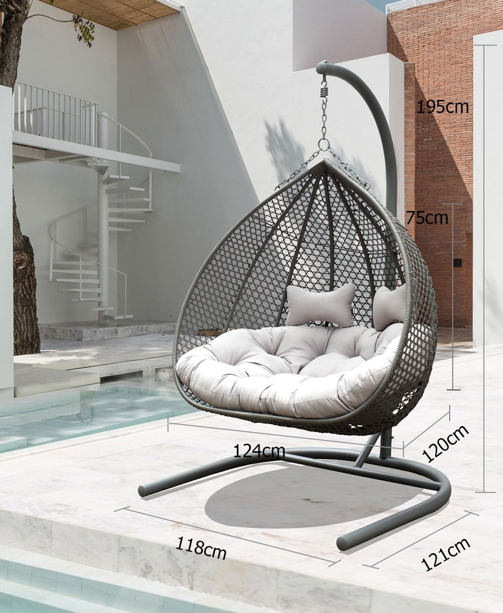 Alfie Double Hanging Egg Chair - Grey with Light Grey ...