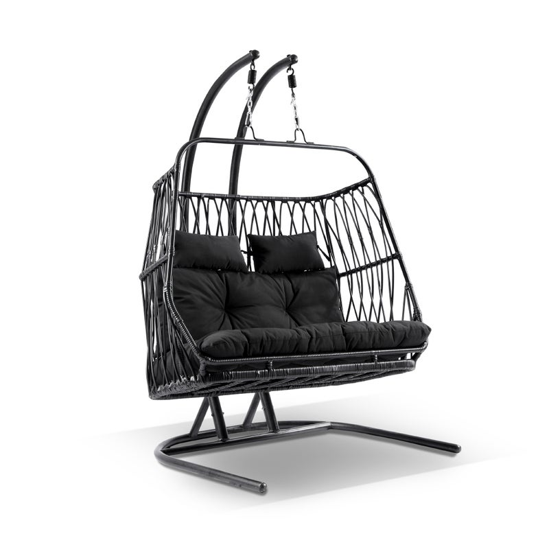 Arlo Double Hanging Egg Chair With Stand In Black Buy Hanging Chairs 2220774
