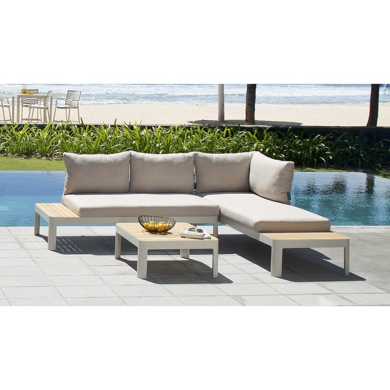 Bondi Outdoor Aluminium And Teak Garden Lounge Setting ...