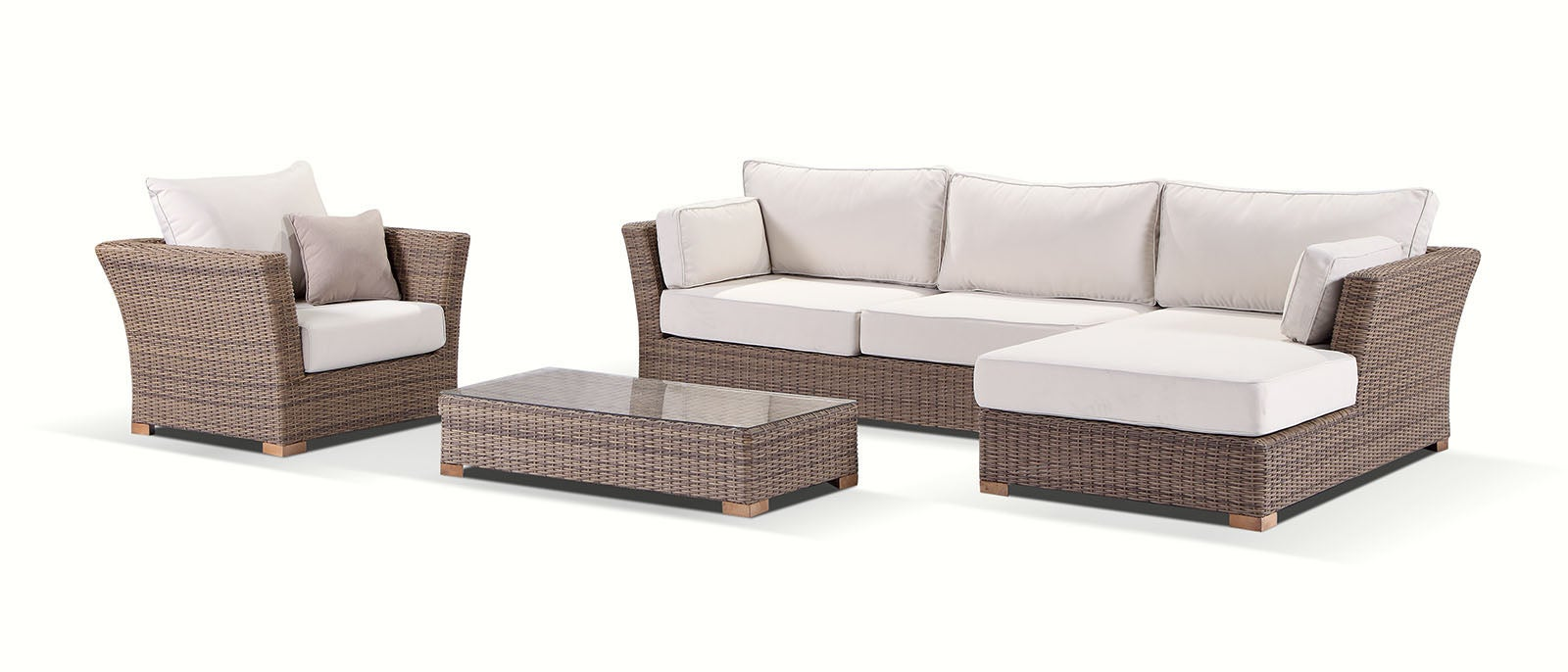 Coco Outdoor Wicker Chaise Lounge With Arm Chair And ...
