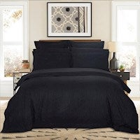 1000TC Queen Size Bed Ultra Soft Striped Quilt/Doona/Duvet Cover Set - Black