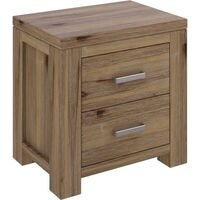 VI Ashfield Solid Acacia Timber Bedside 2 Drawers Rustic Finish