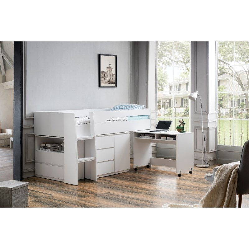 best service 251aa 83a63 King Single Loft Bed with Desk and Storage in White
