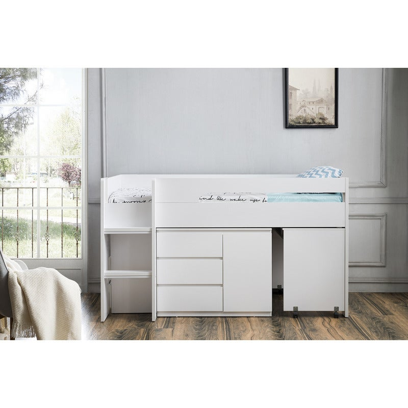 Kids Single Loft Bed With Desk And Storage In White Buy