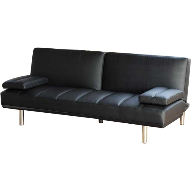 Pu Leather Click Clack Westminster Sofa Bed Couch In Black