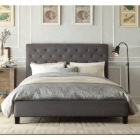 Windsor King Padded Linen Fabric Bed Frame in Grey
