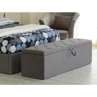 Windsor Fabric Ottomon Storage Box in Grey