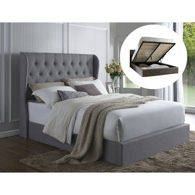 Miraculous Italian Design Westminster Queen Gas Lift Ottoman Storage Bed Frame Fabric Grey Ocoug Best Dining Table And Chair Ideas Images Ocougorg