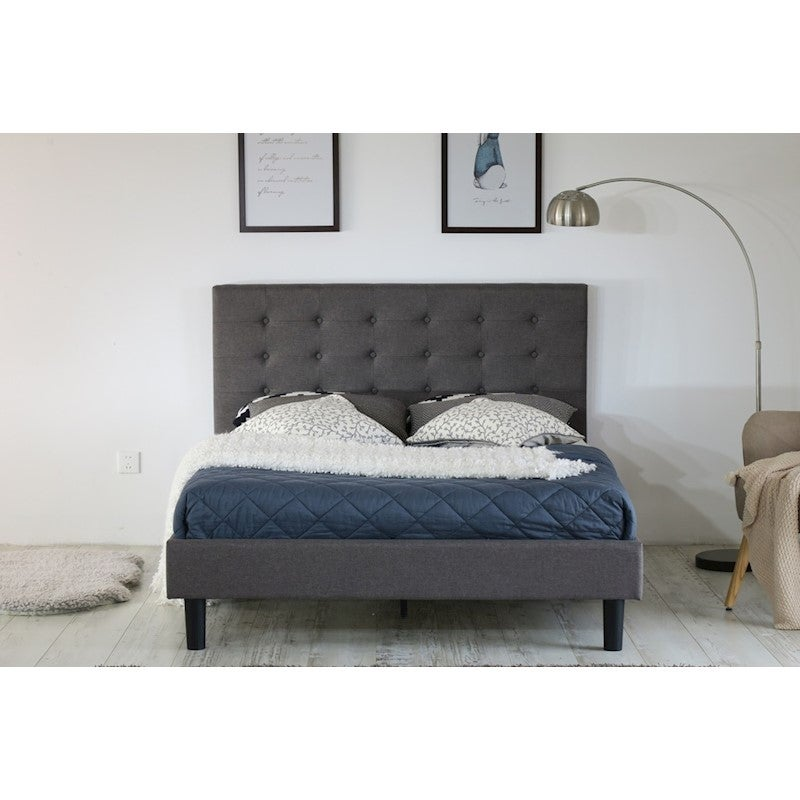 Albany Button King Single Bed Frame Fabric Grey Buy King