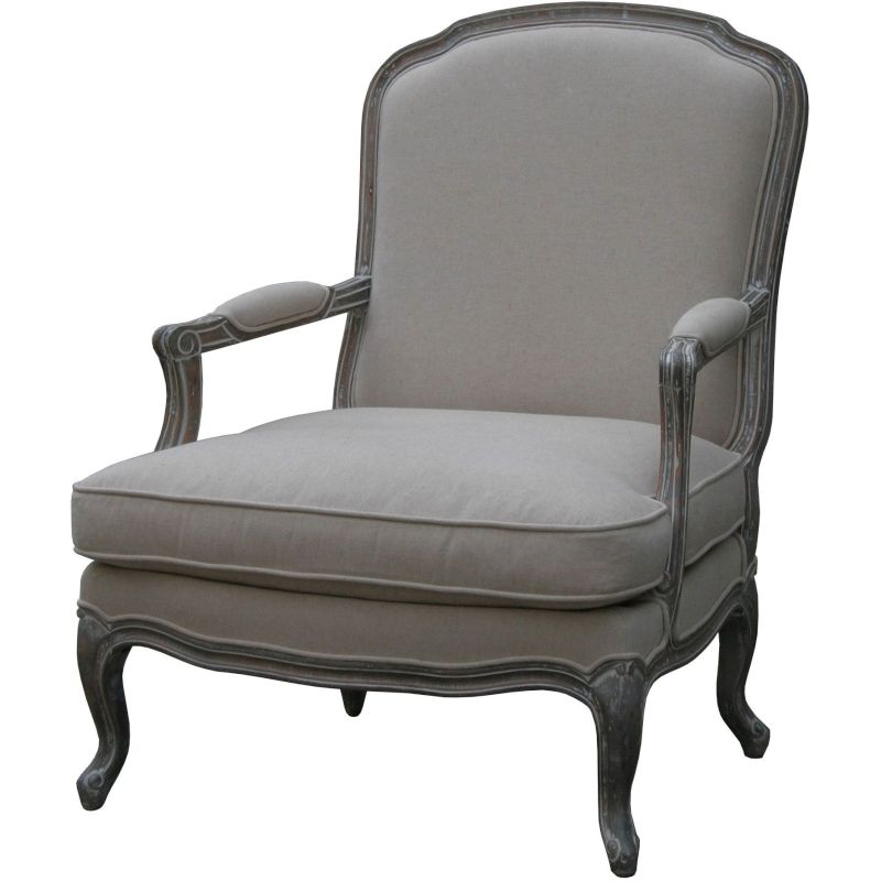 Louis XV Whitewash Upholstered Bedroom Armchair