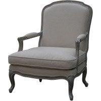 Louis XV Whitewash Upholstered Bedroom Armchair