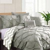 7 Piece Polyester Comforter Bedding Set - 6 Colours