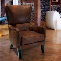 Vintage Microfibre High Back Armchair in Brown