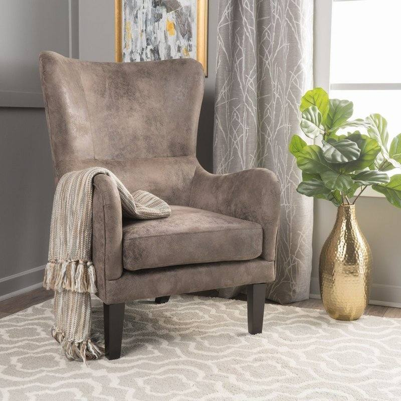 Fine Salerno High Back Fabric Armchair In Grey Brown Dailytribune Chair Design For Home Dailytribuneorg