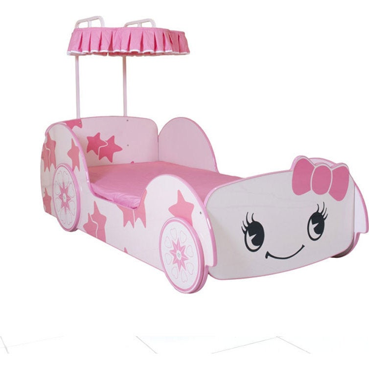 Girls Single Size Cartoon Car Bed Frame In Pink